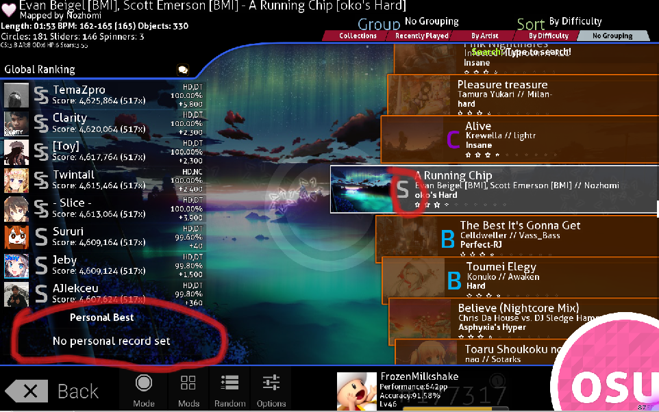archived osu showing i have ranks on beatmaps i don t have ranks on