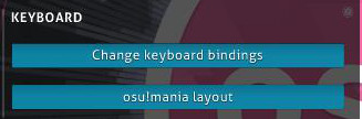 Options keyboard section