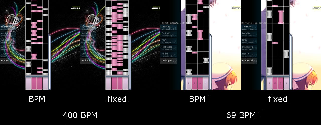Un cambio de velocidad puede hacer una diferencia dependiendo de la densidad del beatmap