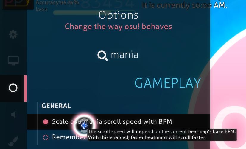 settings osu!mania