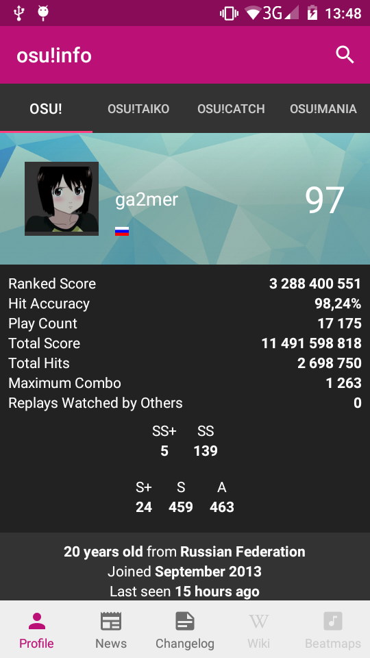 osu!info - [Android] - unofficial client for osu ppy sh